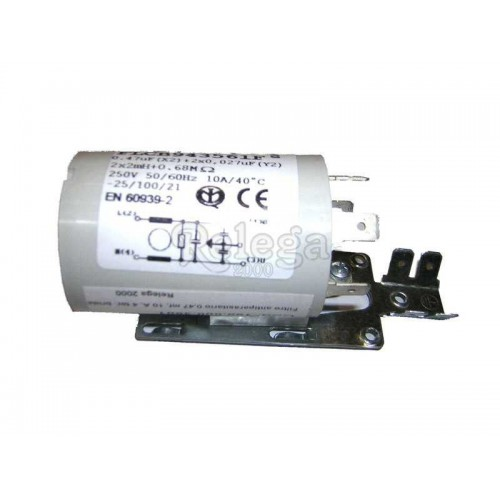 Filtro antiparasitario 0 47mf 10 A 4 terminales con brida y clip doble
