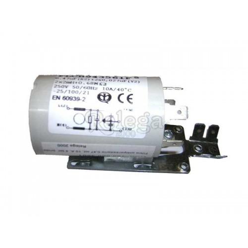 Filtro antiparasitario 0 47 mf 16 A 4 terminales con brida y clip doble
